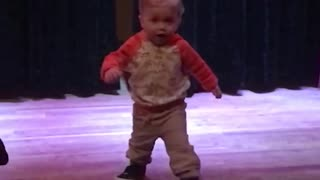 Adorable Boy Misjudges Stage And Takes Massive Tumble - Video