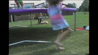 Clumsy Dad Falls Off Trampoline