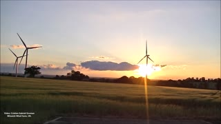 Amazing Sunset and Windmills  - Video