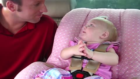 Adorable Baby Babbles To Dad