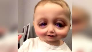 Baby's Hilarious Reaction to SnapChat App! - Video