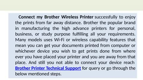 How do I Connect my Brother Wireless Printer ?