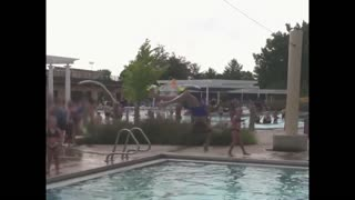 Girl falls Off zipline into pool