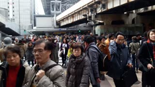 Too many people in Osaka, Japan  - Video