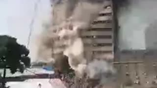 Iran: Tehran Highrise Fire Causes Tower to Collapse - Video