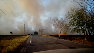 Driving Through a Straw Fire - Video