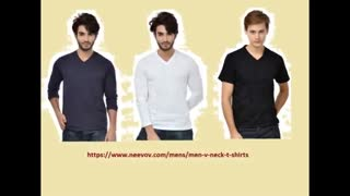 V Neck White Colour Full Sleeve T Shirts for Men - Video