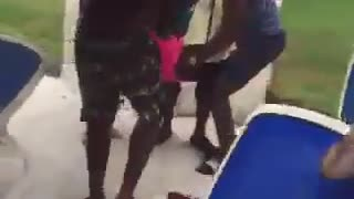 Woman gets tossed into the pool