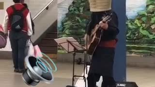 I am confused and stressed man plays guitar with face hidden - Video