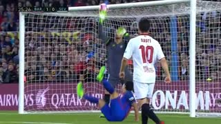 Suarez Amazing Scissor Goal vs Sevilla 1-0 - Video