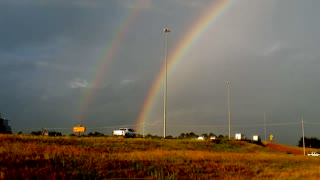 Rare double rainbow spotted in Louisiana - Video
