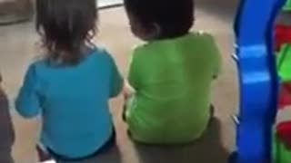 Little girl preciously consoles her twin brother - Video