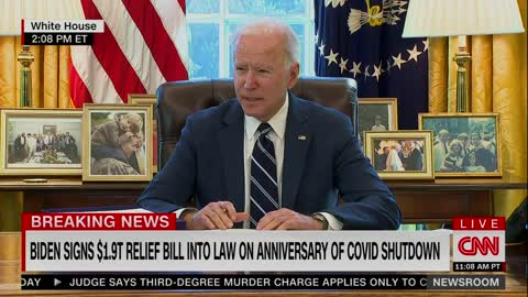 Biden Rushes Out of Room After Signing $2 Trillion Bill, Answers No Questions