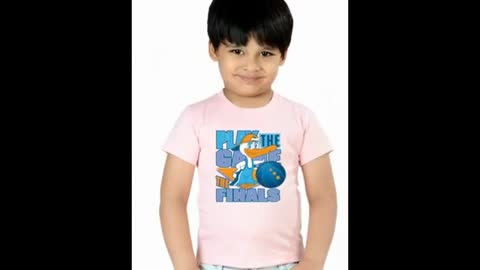 Red Colour Kids Graphic T Shirts