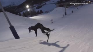 Man black sweater snow ski turn fail