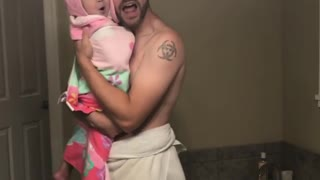 Baby's Adorable Lip-sync Video With Her Dad In The Bathroom