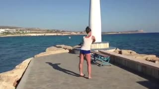 Ballet dance on the seashore  - Video