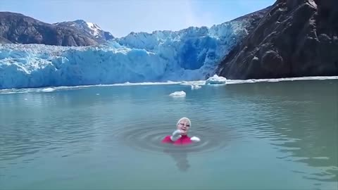Hilarious editing allows older woman to dive in freezing waters