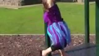 Little girl purple blue dress face plant