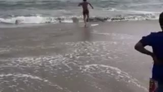 Guy running in water and jumps on surfboard and falls  - Video