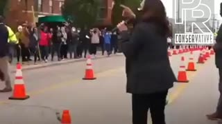 Is this legal? Kamala Harris electioneering at a polling location.