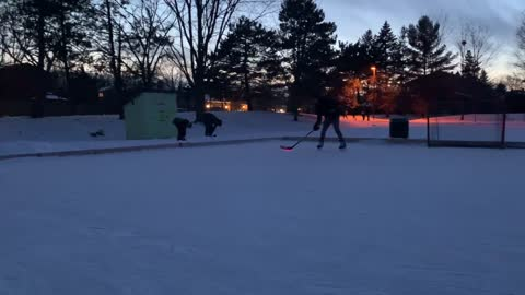 Evening hockey with comet puck