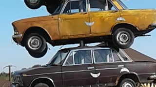 Monument to Russian cars.  - Video