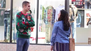 Funny Guy Flirting People With Christmas Pick-up Lines - Video