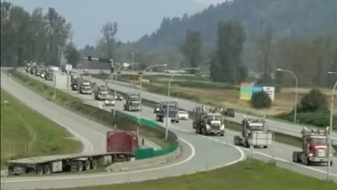 200 Truck Convoy Makes Itself Heard In Support Of British Columbia Logging
