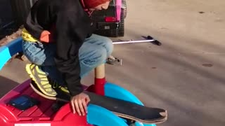 Kiddie slide skateboard fail