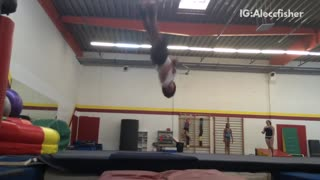 Guy backflip spin into red pit - Video