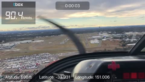 Landing at a larger airport from the Pilot's POV with overlays from Tbox