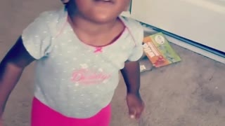 Collab copyright protection - toddler girl falls white doors - Video