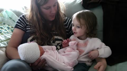 2-Year-Old Meets Baby Sister For The Very First Time