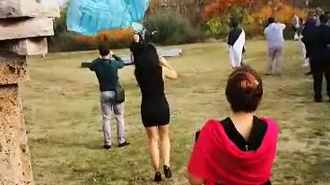 With a parachute at the wedding