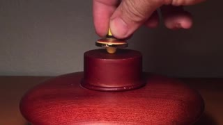 Watch as this crazy spinning top starts levitating