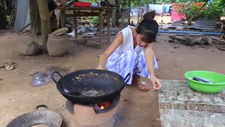 Primitive Technology_ Cooking skill special sea fish _ Cooking skill _ Khmer Survival Skills