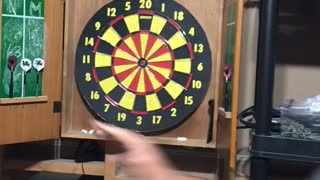 Guy in hat throws dart and almost hits a hand  - Video