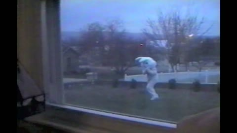 Little Girl Terrified Of Dad Outside In Easter Bunny Costume