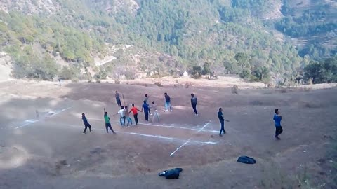 Boys playing cricket in hills awesome view and enjoy cricket