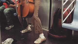 Guy purple shirt plays cello on subway train - Video