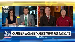 Cafeteria worker thanks Trump for tax cuts - Video