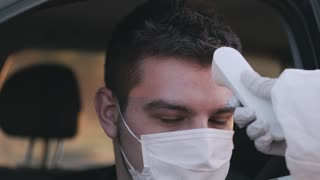 Driver Getting his Temperature Checked