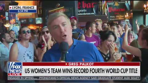 """US soccer fans in France chant """"F*ck Trump"""" during Fox News broadcast."""