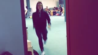 Here's what it sounded like not in slowmo kid jumps into door