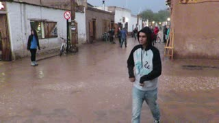 San Pedro de Atacama in northern Chile during a rare rain event