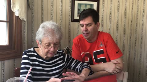 Grandma receives smartphone for the very first time