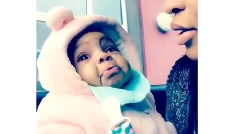 Baby gets very emotional when mom sings to her