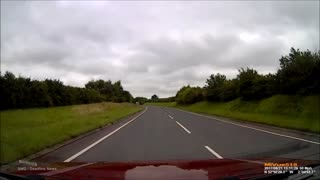 Near miss on the A53 in Shropshire - Video