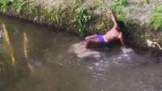 Ropeswing faceplant - Video